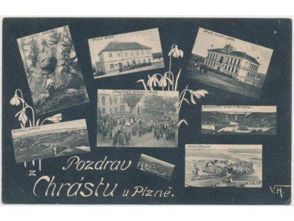 47 - Plzeňsko, Chrást, 7 - mi okénková koláž dominant obce, cca 1904