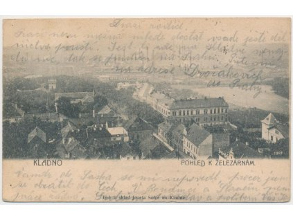 27 - Kladno, pohled na město k železárnám, cca 1905