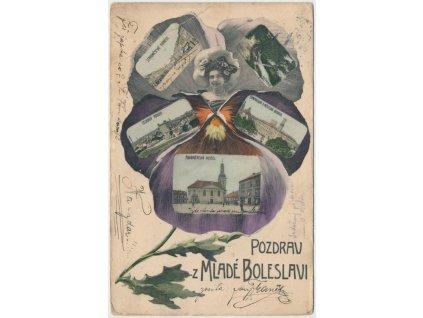 36 - Mladá Boleslav, 6 - ti záběrová koláž v květu macešky, cca 1906