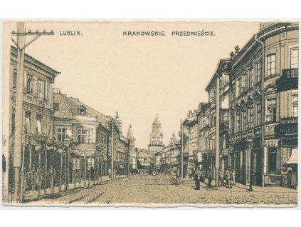 Polsko, Lublin, Krakowskie przedmiescie, lidé na ulici, cca 1920