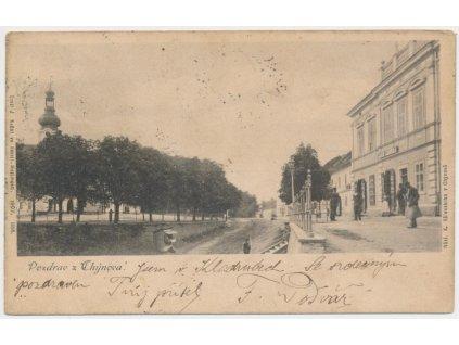 64 - Táborsko, Chýnov, oživená ulice, cca 1903