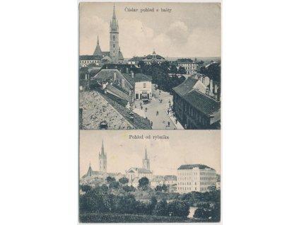 31 - Kutnohorsko, Čáslav, 2 - záběr, Pohled z bašty a od rybníka, 1914
