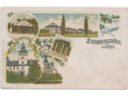 27 - Kladensko, Šternbergské lázně, litografie zaniklých lázní, 1895
