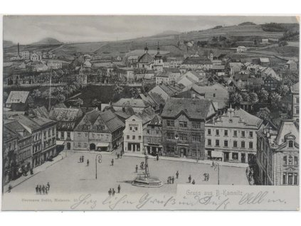 14 - Děčínsko, Česká Kamenice, pohled na město a oživené náměstí, 1905