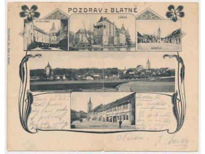 60 - Strakonicko, Blatná, 5-ti záběrová koláž dominant, ojedinělé,1902
