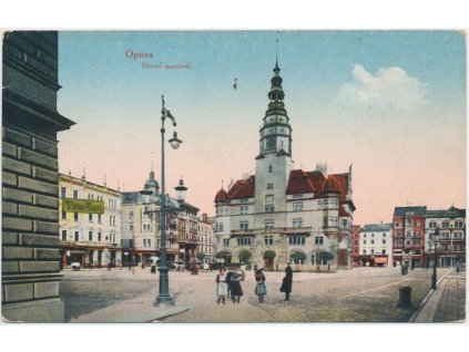 42 - Opava, oživené Horní náměstí, Nakl. F. Havlický, cca 1918