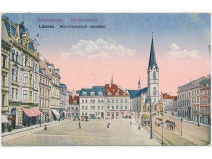32 - Liberec, oživené Novoměstské náměstí, koně, tramvaj, cca 1918