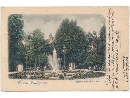 12 - České Budějovice, oživená partie z městských sadů, cca 1908