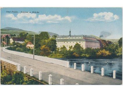 11 - Českolipsko, Horní Police, pohled z mostu na zámek, cca 1920