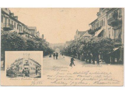 """08 - Chebsko, Františkovy Lázně, oživená """"Kaiserstrasse"""", cca 1902"""