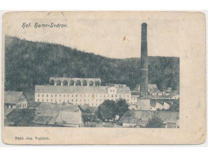 20 - Jablonecko, Svárov, pohled na továrnu, Nakl. J. Vojtěch, cca 1908