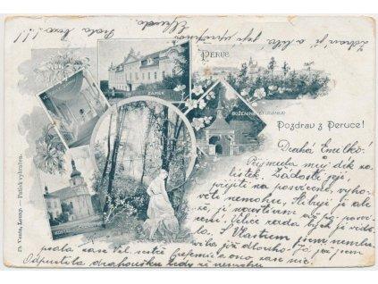 34 - Lounsko, Peruc, 7 - mi záběrová koláž s dominanty městyse, 1902