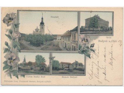 33 - Litoměřicko, Budyně nad Ohří, 4 - záběrová koláž, škola, zámek...