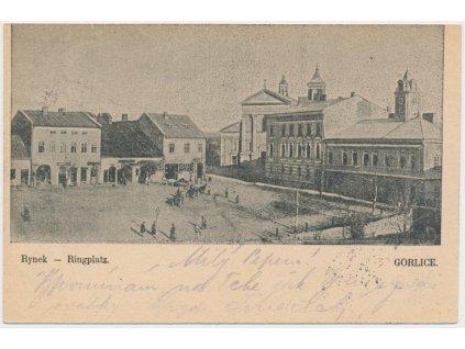 Polsko, Gorlice, Rynek, oživené náměstí, cca 1900