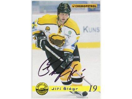 Šlégr Jiří (1971), hokejista, sběratelská karta s vlastn. podpisem