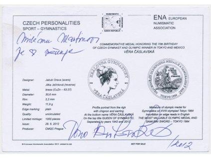 Čáslavská Věra (1942-2016), gymnastka, podpis na pohledn. certifikátu