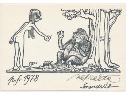 Winter Jiří Neprakta (1924 - 2011), tištěná kresba, podpis, PF 1978