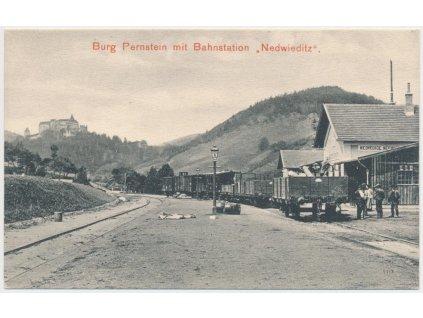 05 - Brno-venkov, Nedvědice, oživená partie z vlakového nádraží, 1919