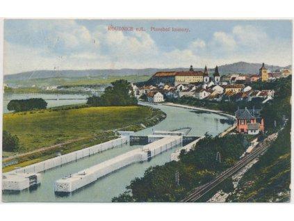 33 - Litoměřicko, Roudnice nad Labem, Plavební komory, město, cca 1908