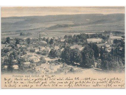57 - Rychnovsko, Potštýn nad Orlicí, celkový pohled na město, cca 1905