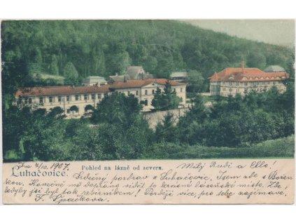 73 - Zlínsko, Luhačovice, pohled na lázně od severu, cca 1907