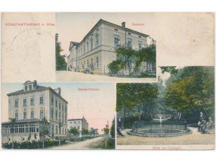 63 - Tachovsko, Konstantinovy Lázně, 3 - záběr, Bahnhofstrasse...,1908