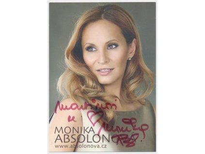 Absolonová Monika (1976), zpěvačka, propagační karta s vl. podpisem