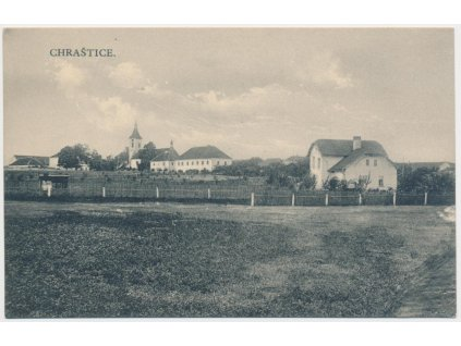 54 - Příbramsko, Chraštice, pohled na obec, cca 1918