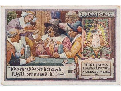 """Reklamní pohlednice, Herčíkova plzeňská pivnice """" U Ježíška"""" v Praze"""