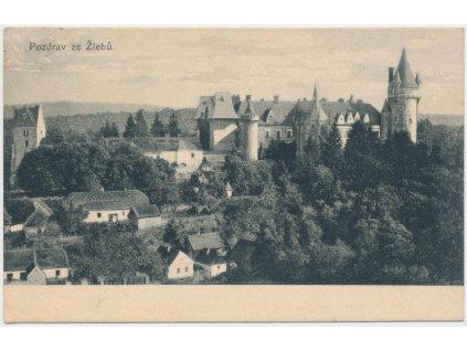 31 - Kutnohorsko, Žleby, pohled na zámek a okolí, cca 1923