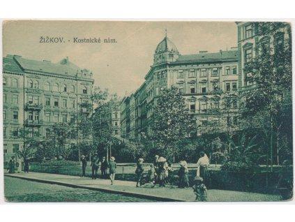 49 - Praha, Žižkov - oživené Kostnické náměstí, cca 1922