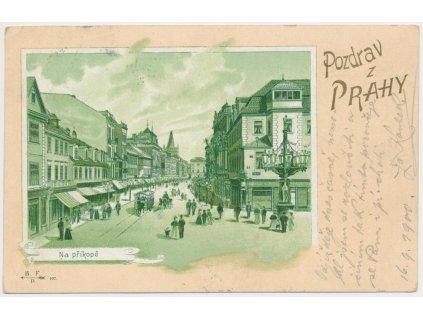 49 - Praha, Na Příkopě, oživená partie z ulice, cca 1900