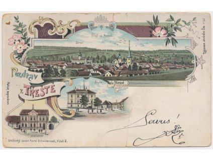23 - Jihlavsko, Třešť, 3 - záběrová koláž dominant města, cca 1899