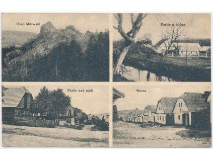 56 - Rokycansko, Lhota pod Radčem, 4 - záběr, náves, mlýn..., cca 1928