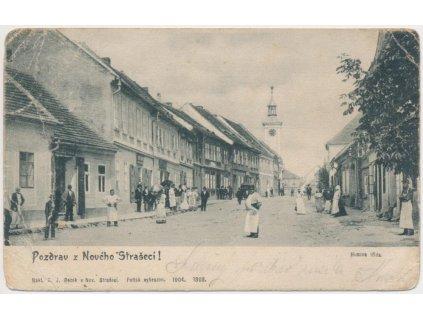 55 - Rakovnicko, Nové Strašecí, oživená Husova třída, cca 1904