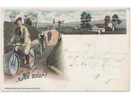 """Cyklistický pozdrav """" Na zdar! """", koláž, lidé.., cca 1897, ojedinělé!"""