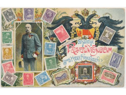 Propaganda, Franz Josef I., koláž, 60 jährige Regierungs jubiläum