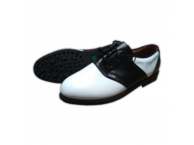 Black/White Saddle Unlined USKG Swing-Right Shoes (spikeless)