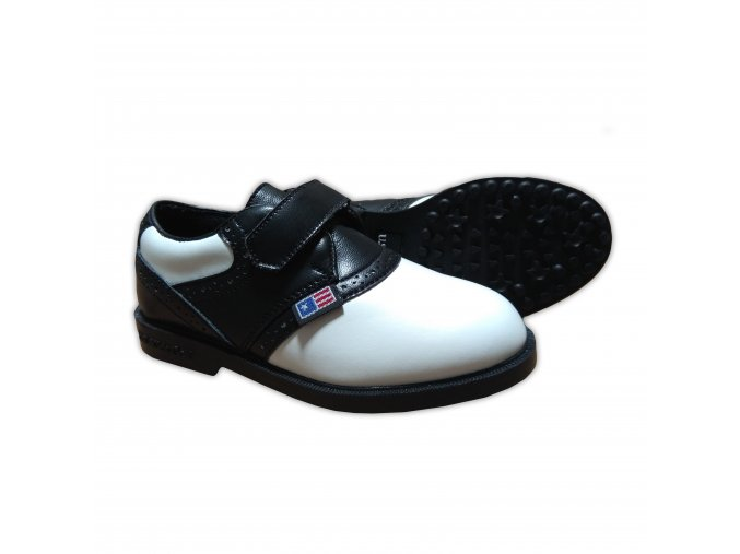 Black/White Saddle Velcro, Swing-Right Shoes (spikeless)