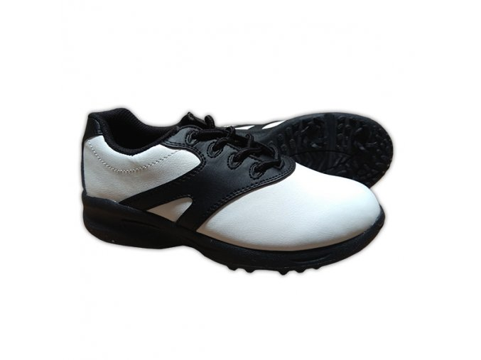 Black/White U.S. Kids Golf Swing-Right Shoes (Spikes)