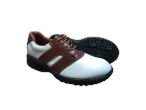 Brown/White Dual U.S. Kids Golf Swing-Right Shoes (Spikes)