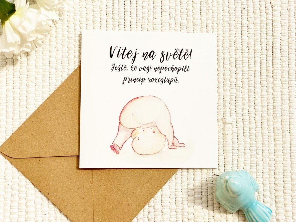 Přáníčko narození dítěte - koroňátko