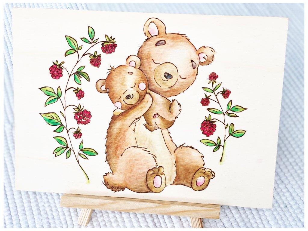 Vypalovaný obrázek Medvědů - Rodič s dítětem