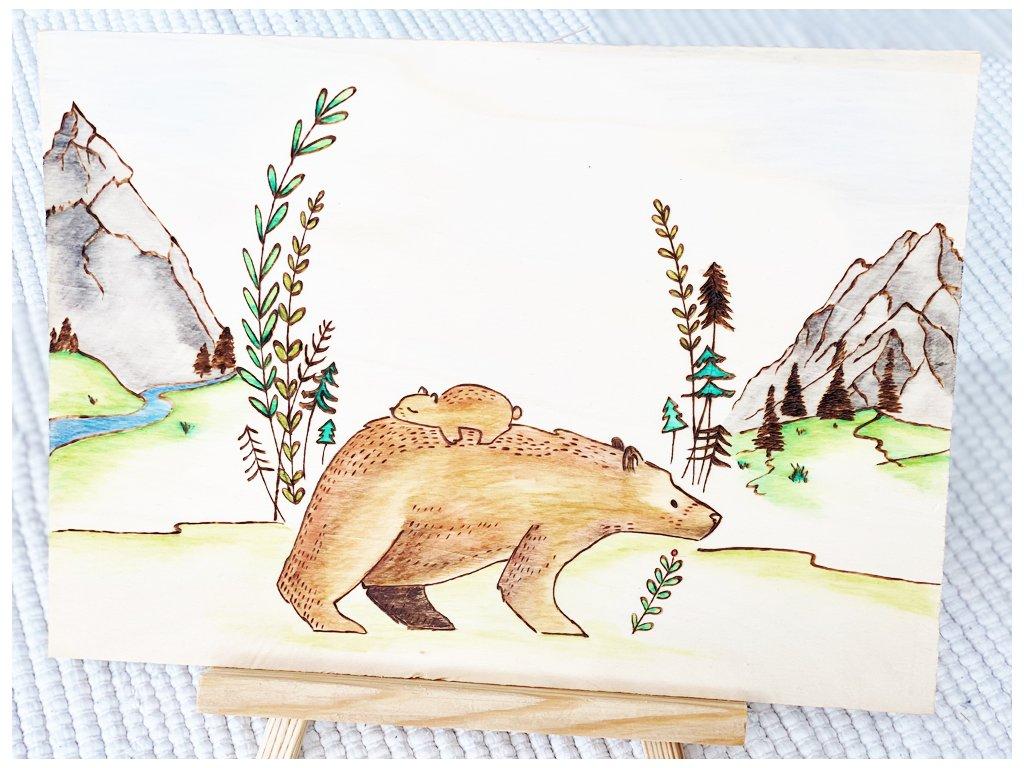 Vypalovaný obrázek Medvědů na cestě - Rodič s dítětem