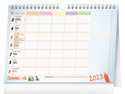 Týdenní rodinný plánovací kalendář 2022 - stolní s háčkem pro zavěšení