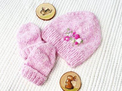 Set pro miminko - růžová pletená čepička s rukavičkami