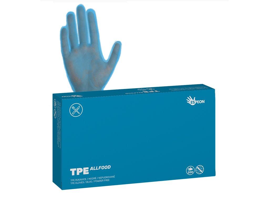 T-PE rukavice TPE ALLFOOD 200 ks, nepudrované, modré, 37 mi