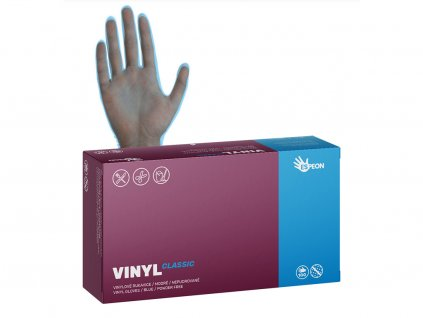Vinylové rukavice VINYL CLASSIC 100 ks, nepudrované, modré, 4.8 g