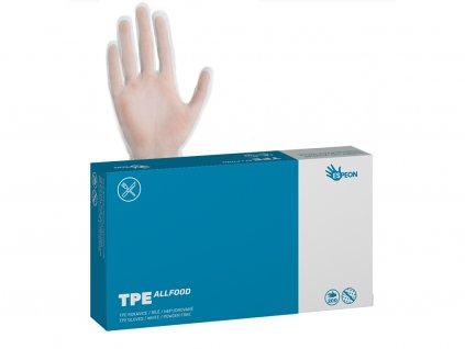 T-PE rukavice TPE ALLFOOD 200 ks, nepudrované, bílé, 37 mi