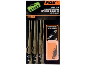 Fox Edges Lead Clip Leadcore Leaders Dark Camo CAC576 - hotové montáže